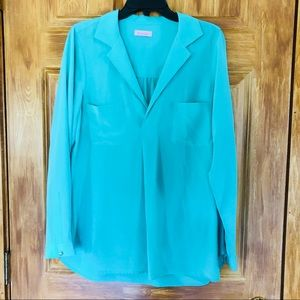 Lilly Pulitzer 100% Silk Teal Blouse Size Large